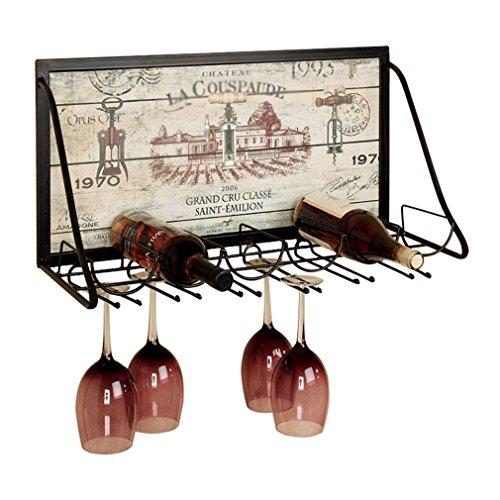 TYHZ Botelleros Botella De Vino Vino Rack Montado En La Pared Marco De Metal Que Viven Decoración De La Pared De La Cocina Estante Flotante (tamaño: 65 * 26 * 40 Cm) botellero