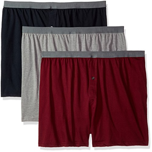 Fruit of the Loom Solid Knit Boxers 3-Pack (Colors and patterns may vary) (XX-Large, Assorted)