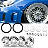 Xotic Tech JDM Quick Release Fasteners Compatible with Car Bumpers Trunk Fender Hatch Lids (Silver)