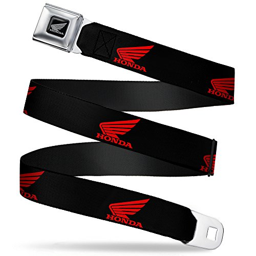 Buckle-Down Seatbelt Belt - HONDA Motorcycle Logo Black/Red - 1.0