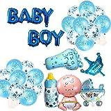 Oumezon Decoración para fiesta de bebé, diseño de globos de aluminio (niña + biberón + cochecito + corona + pie), globo de confeti + globo de látex