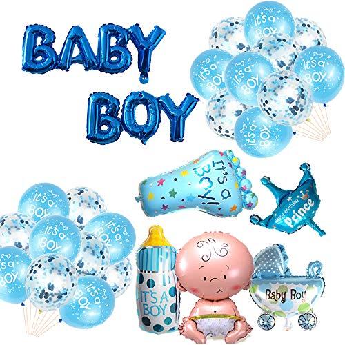 Oumezon Babyparty Deko Junge, Baby Shower Party Deko - Baby Boy Ballon Banner, Aluminiumfolienballon (Mädchen + Milchflasche+ Kinderwagen + Kronenballon + Fuß),Konfettiballon + Latexballon