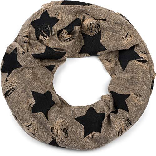 styleBREAKER Loop sjaal met ster- en stipmotief, vintage look, omkeerbare sjaal, buissjaal, Uniseks 01018080