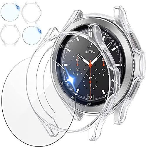 [2+2Pezzi] wlooo Compatibile con Samsung Galaxy Watch 4 Classic 42mm 46mm Cover + Vetro Temperato, 2 Pellicola Protettiva e 2 TPU Protettivo Antiurto Morbida Custodia per Galaxy Watch4 Classic
