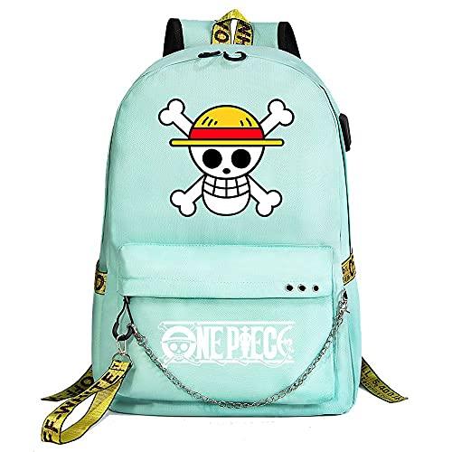 ZZGOO-LL One Piece Monkey·D·Luffy/Roronoa Zoro with Chain USB Anime Laptop Backpack Bag Travel Mochilas Daypacks Bolso Ligero Green-A