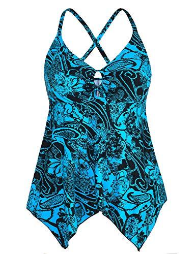 Mycoco Damen-Badeoberteil mit Schnürung vorne, Tankini-Top, fließendes Badekleid, Bauchkontrolle - - 116 DE