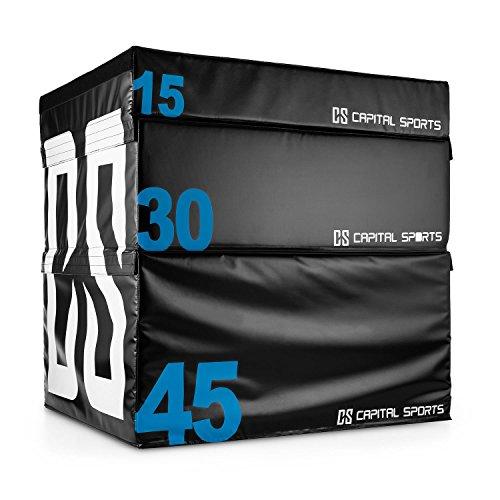 Capital Sports Rooksy Soft Jump Box Set - Plyo Boxen, Sprungboxen, plyometrisches Training, 15, 30 und 45 cm Höhe, Füllung aus Schaumstoff, Außenmaterial aus Vinyl-Cover, schwarz