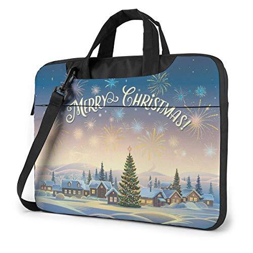 Feestelijke Winter Kerstbomen Vuurwerk Laptop Case Laptop Schoudertas 15.6 Inch, Laptop Sleeve Draagtas met riem