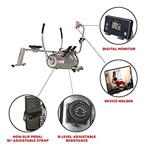 Sunny Health & Fitness Full Motion Magnetic Rowing Machine Rower with Advanced LCD Display, Elevated Seat, 265 LB Max Weight and Foldable - SF-RW5864,Gray