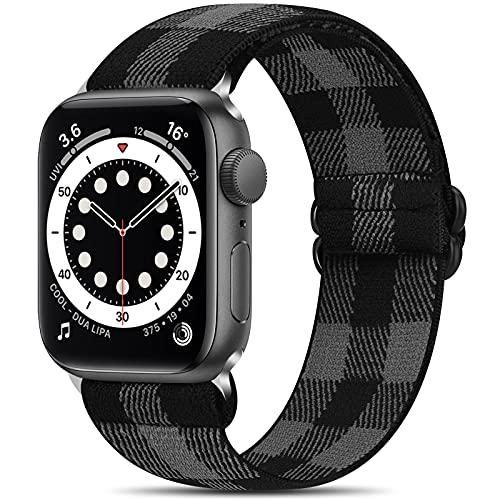 コンパチブル Apple Watch バンド 38mm 40mm 42mm 44mm、ナイロン弾性スポーツバンド交換用ストレッチバンド ストラップ コンパチブル iWatch シリーズ SE 6 5 4 3 2 1 (38mm/40mm, ブラックグレー)