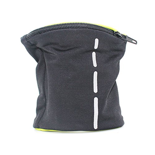 boshiho Unisex Zippered Wristband Pouch Runner's Wrist Pocket Reversible Wrist Wallet (Black-Reflective Stripe)