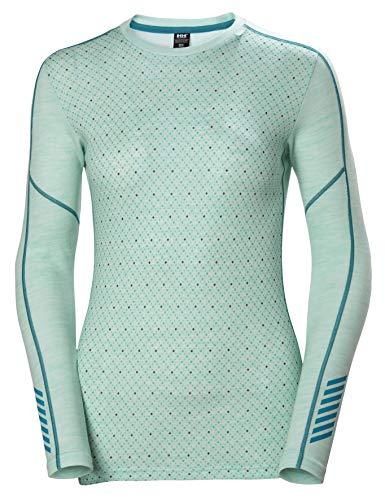 Helly Hansen LIFA Merino Graphic Crew Thermal Baselayer Camiseta Deportiva Manga Larga, Mujer, Azul Tintado Melange, S
