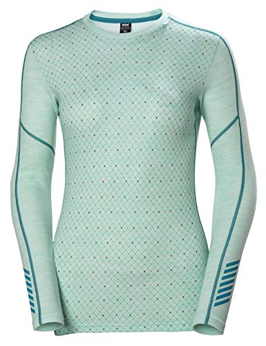Helly Hansen LIFA Merino Graphic Crew Thermal Baselayer Camiseta Deportiva Manga Larga, Mujer, Blue Tint Melange, S