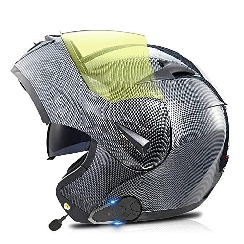 ksamwjf Cascos Bluetooth para Motocicleta Duradera, Visor antivaho abatible para Motocicleta Casco Bluetooth Duradero para Motocicleta Auriculares con Doble Altavoz, Manos Libres
