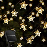 Solar Star String Lights Outdoor 39 Ft 100 LED,8 Lighting Modes Twinkle Fairy Lights, Waterproof Solar Powered Star Lights for Outdoor,Party, Patio,Wedding,Christmas Decor (Warm White)