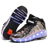TTW Enfants USB Charge Roller Skate Chaussures LED Light Up Wheel Roller Shoes Baskets Confortables pour garçons Filles Anniversaire Thanksgiving Noël Meilleur Cadeau,Gray a,39