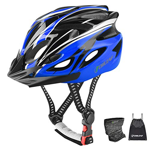 CHILEAF Adult Bike Helmet 56-64CM with Visor, Sports Face Scarf, 18 Vents, Cycling Bicycle Helmets Adjustable Lightweight Youth Mens Womens Ladies for BMX Skateboard MTB Mountain Road Bike