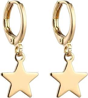 DIYANMMY بوهو هاغي هوب أقراط نجمة استرخى قطرة الذهب مطلي رائع بسيط لا يسبب الحساسية هدية مجوهرات للنساء الرجال