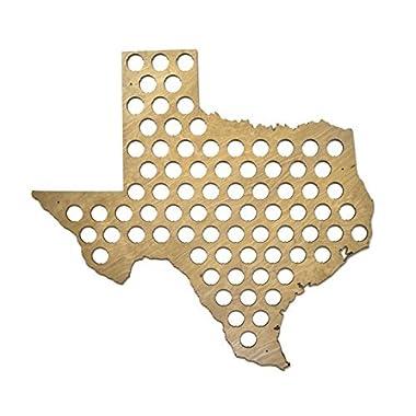All 50 States Beer Cap Map - Texas Beer Cap Map TX - Glossy Wood - Skyline Workshop