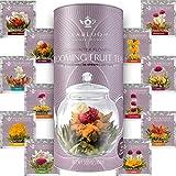 Teabloom Fruit Blooming Teas – 12 Unique Flower Varieties of Blooming Tea in 12 Delicious Fruit Flavors – Each Flowering Tea Ball Steeps Up to 3 Times – Handpicked Ingredients