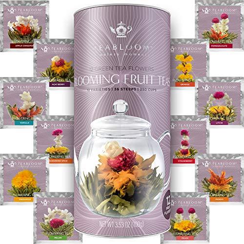 Juego regalo de 12 tes florecientes de frutas de Teabloom - 12 variedades de te en flor - Te verde & bote regalo de sabores de frutas