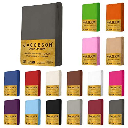 Jacobson Gold Edition Jersey Spannbettlaken Spannbetttuch Baumwolle mit ELASTAN ca. 200 g/m² (180x200 cm - 200x200 cm, Anthrazit)