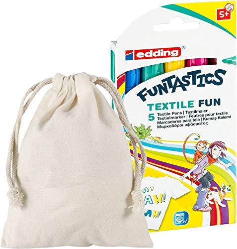 edding 4-17-5 Funtastics Textilmarker Fun, 5-er Set, 2-3 mm, sortiert (Promo Pack mit Baumwollbeutel von Edding zum bemalen)