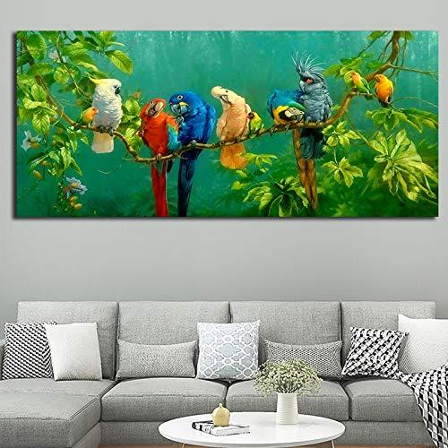 ganlanshu Loro del Bosque Cuadro En Lienzo para la decoración de la Pared Cartel Pintura Sala de Estar Carteles e Impresiones Decoración,Pintura sin Marco,70x140cm