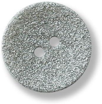 5 glamourös silberfarben glitzernde Kunststoffknöpfe mit grauem breiten Rand