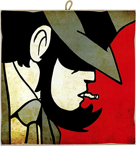 KUSTOM ART Quadro Quadretto Stile Vintage Serie Fumetti Lupin III: Daisuke Jigen da Collezione Stampa Laser su Legno Alta qualità Made in Italy - Idea Regalo