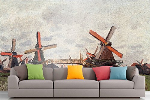 Roshni Arts® - Curated Art Wall Mural - Monet - Molen in de buurt van Zaandam | Zelfklevende Vinyl Furnishings Décor Wall Art - 48x64 Inch