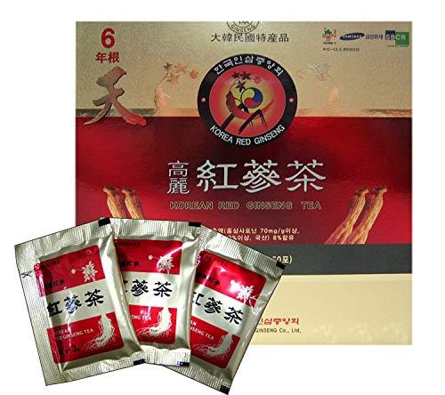 Korean Red Ginseng Té de 3 g x 50 paquetes de té de ginseng coreano hecho en Corea - Raíces de ginseng rojo coreano - Juego de 2