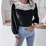 PKYGXZ Damenbekleidung Elegante Bluse Langärmlige Häkelspitzen-Nähte Velvet Slim Pullover Tops Sexy T-Shirt Bottoming Shirt