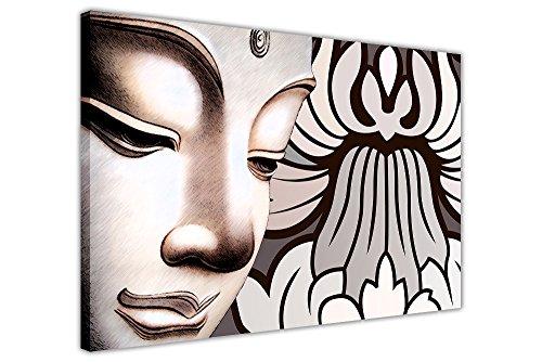 "FLOWER GAUTAMA LEINWANDDRUCK BUDDHA-STATUE, ZIMMERDEKORATION PRINTS) Art Deco 02- A3 - 16\"" X 12\"" (40CM X 30CM) weiß"