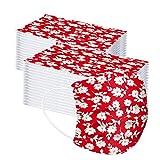 10/20/100 Piezas Unisex Adulto Protector Bufanda con Estampado Floral - Moda Universal Lindo Estampado de 3 Capas elástico Suave Chal para Mujeres hombres-21130-22