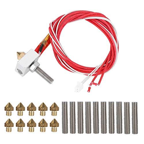 PUSOKEI 3D-Druckerextruder mit Aluminiumheizblock, 10-teiligem Leitungsrohr (30 mm) und 10-teiliger 0,4-mm-Düse, geeignet für 1,75-mm-PLA-ABS-3D-Drucker, Edelstahl + Messing