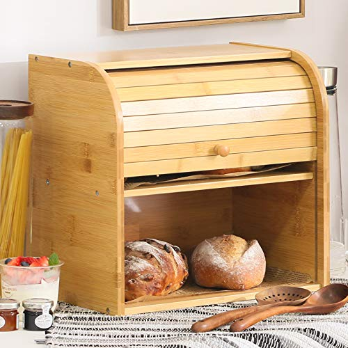 Betwoo Natural Wooden Roll Top Bread Box Kitchen Food Storage (2 Layer Bread Box)