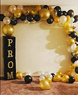 Large White Black and Gold Balloon Garland Arch Kit - Perfect Ballons for Baby or Wedding Shower Party Decorations - Giant Gold Black and White Baloon Arch Kits Wall Balloons