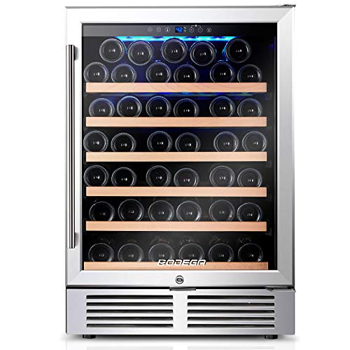 BODEGA 24 Inch Wine Cooler,52 Bottle Wine Refrigerator with Upgrade Compressor Fits Champagne Bottles Keep Consistent Temperature Low noise Built in or Freestanding Wine Fridge for Home Office Bar