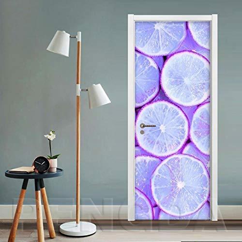 Etiqueta engomada de la puerta 3D para el baño de la cocina del dormitorio Fruta limón arte púrpura 77x200cm Pegatinas de puerta 3D Mural adhesivo de pared autoadhesivo arte lienzo póster impresión vi