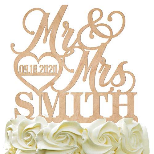 Personalized Wedding Cake Topper - Wedding Cake Decoration, Elegant Customized Mr Mrs Wedding Cake Topper, Last Name & Date w/Heart - Wood Colors