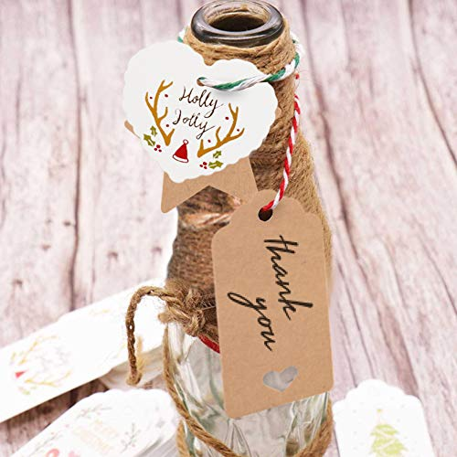 150 PCS Kraft Paper Gift Tags Kraft Hang Tags with String Great as Christmas Gift Tags, Wedding Favor Tags, Birthday Gift Tags, Baby Shower Favor Tags,or Other Place Name Cards. Photo #7