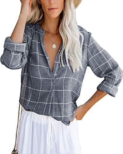 Damen Bluse Langarm Elegant Oberteil V-Ausschnitt Casual Tops Lose Langarmshirt Vintage Tunika Shirts(bk,m)