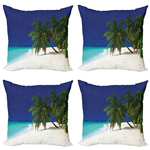 ABAKUHAUS Tropical Set de 4 Fundas para Cojín, Costa Virgen, Estampado Digital en Ambos Lados y Cremallera, 45 cm x 45 cm, Azul Marino Blanco