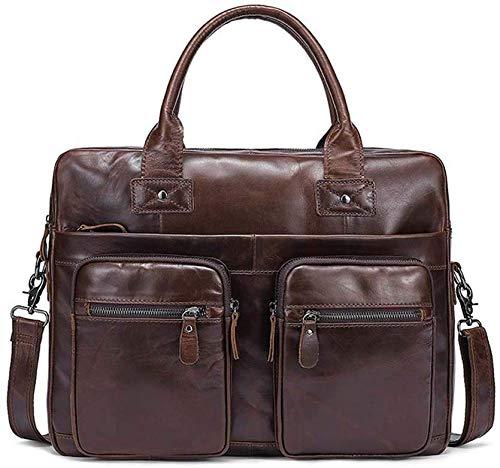 Elise heren schoudertas voor laptop, satchel (kleur: donkerbruin)