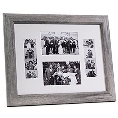 CreativePF [2-46-11x14dw-w] Driftwood Event Photo Booth Frame Holds 2-4 by 6 and 2-2 by 6-inch Photographs with White Collage Mat and Stand