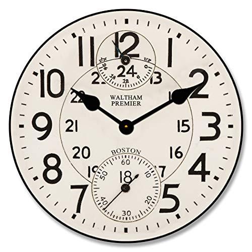 Toll2452 Waltham - Reloj de pared redondo de madera para decoración de pared