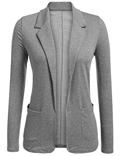 LookbookStore Women's Casual Grey Blazer Front Buttons Shoulder Pads Work Office Business Blazer Jacket Suit Size M