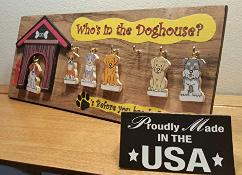 Who's in The Doghouse Family of 6 Assorted Dogs Mini Plaque Personalize Yours Free Handcrafted in The USA Ships Within 24 Hours