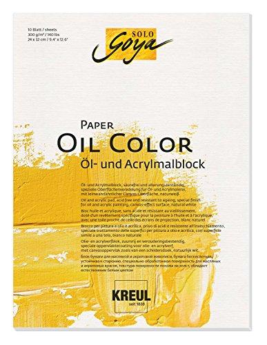 Kreul 68021 - Solo Goya Paper Color, Öl und - Acrylmalblock, ca. 24 x 32 cm, 300 g/qm, 10 Blatt, säurefrei und alterungsbeständig, naturweiß, leinwandähnliche Oberfläche für Öl- und Acrylfarben